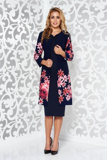 Sötétkék női kosztüm elegáns enyhén rugalmas anyag virágmintás díszítéssel