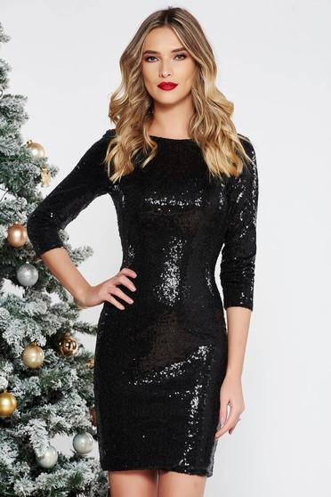 Fekete StarShinerS alkalmi flitter ruha belső béléssel szűk szabás