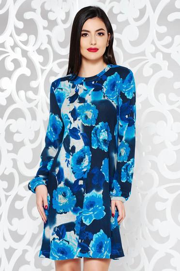 Kék StarShinerS hétköznapi bő szabású ruha kötött anyag