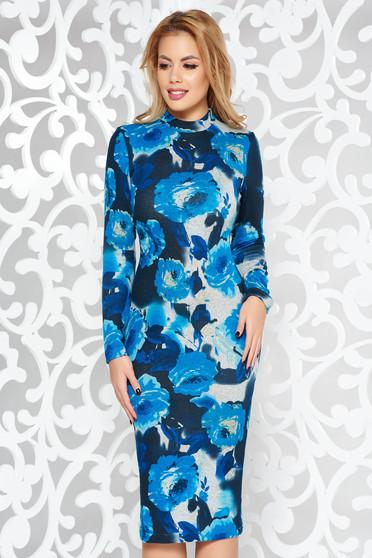 Kék StarShinerS ruha casual midi magasnyakú kötött anyag hosszú ujjak szűk szabás