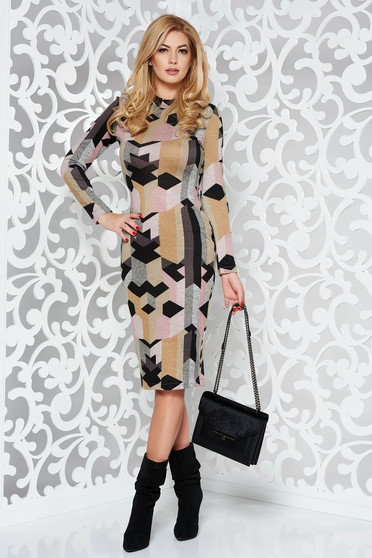 9ed477475b Mustar StarShinerS ruha casual midi magasnyakú kötött anyag hosszú ujjak  szűk szabás