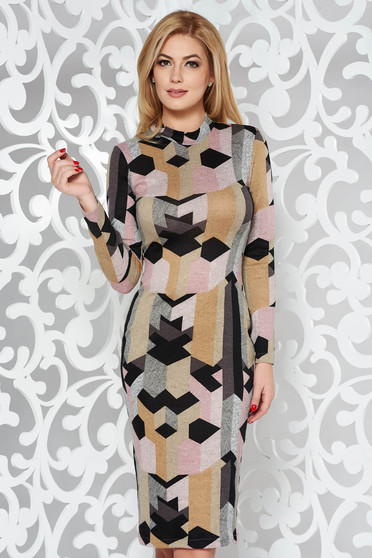 Mustar StarShinerS ruha casual midi magasnyakú kötött anyag hosszú ujjak szűk szabás