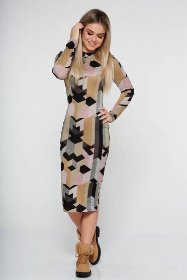 Mustar StarShinerS hétköznapi ruha midi magasnyakú kötött anyag hosszú ujjak szűk szabás