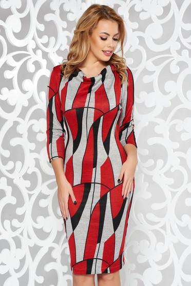 Piros StarShinerS hétköznapi ruha kötött anyag szűk szabás háromnegyedes ujjú