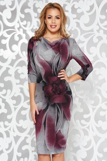 Lila StarShinerS ruha hétköznapi kötött anyag szűk szabás háromnegyedes ujjú
