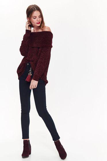 Lila Top Secret casual bő szabású pulóver kötött anyag a vállakon 43d2c77656