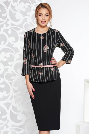 Fekete elegáns ceruza ruha peplummal enyhén elasztikus szövet öv típusú  kiegészítővel 05b6b0c30b