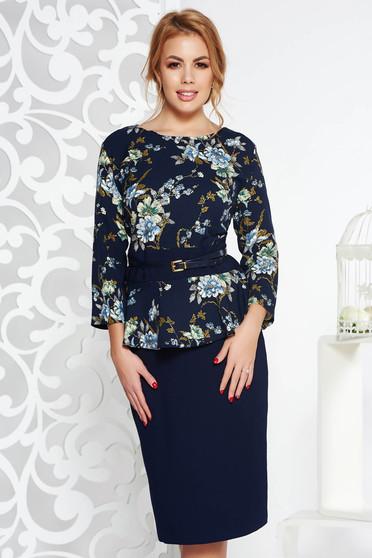 Fekete elegáns midi ruha enyhén elasztikus szövet derekán fodros öv típusú kiegészítővel