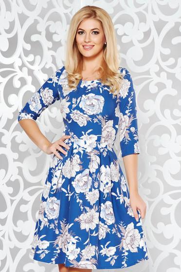 Kék elegáns harang ruha enyhén elasztikus szövet virágmintás