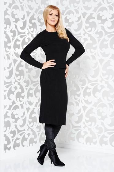 69c89ab794 Fekete StarShinerS pamutból készült kötött női kosztüm két részes szűk  szabás