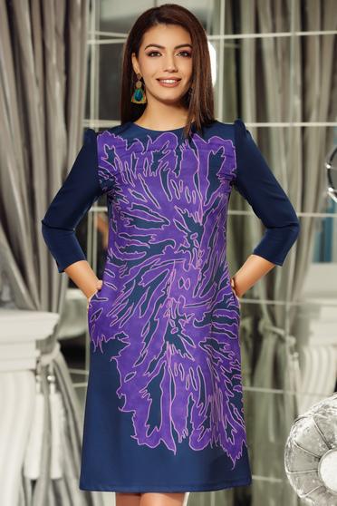 Lila Fofy irodai a-vonalú ruha enyhén rugalmas anyag háromnegyedes ujjú