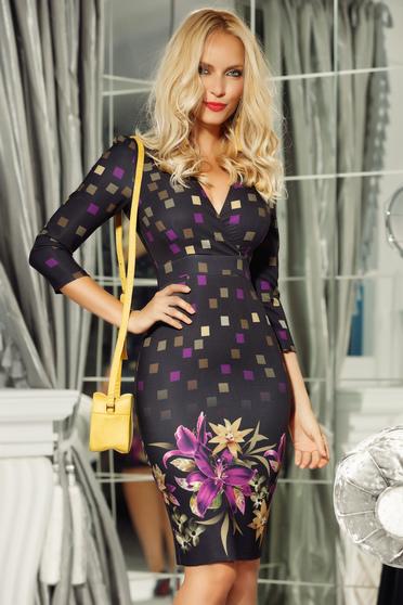 Lila Fofy hétköznapi midi ruha enyhén rugalmas anyag v-dekoltázzsal szűk szabás