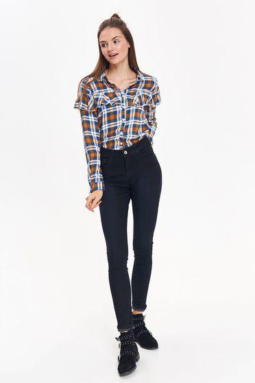 Fekete Top Secret casual pamutból készült nadrág szűk szabás