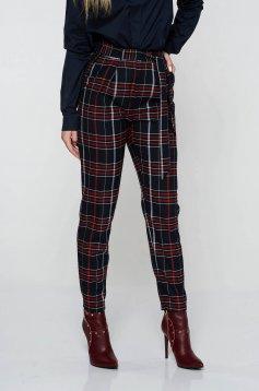 Fekete StarShinerS casual kónikus nadrág rugalmatlan szövet kockás