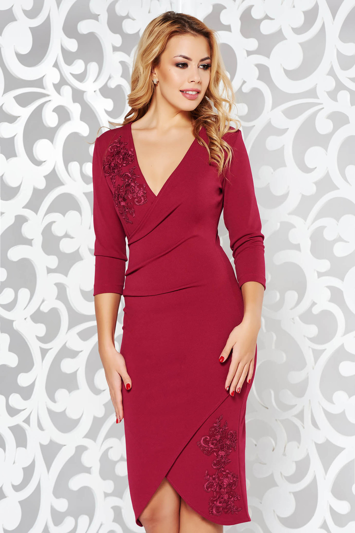 a4a9e57d84 Burgundy StarShinerS elegáns ruha szűk szabás csipke díszítéssel vékony,  rugalmas szövet