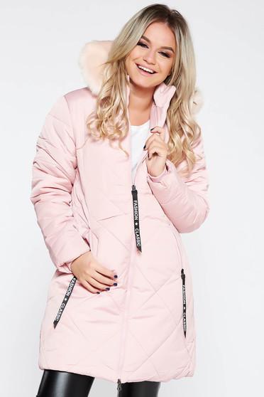 c7246e4a23 Világos rózsaszín dzseki casual vízhatlan bundabélessel ellátva egyenes  szabás szőrmés kapucni zsebes