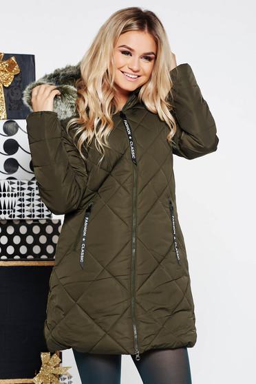 Kaki SunShine casual vízhatlan dzseki bundabélessel ellátva egyenes szabás szőrmés kapucni zsebes