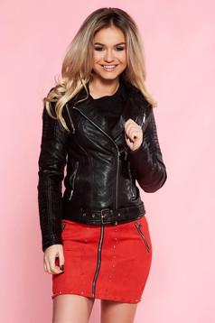Fekete casual dzseki műbőr belső béléssel