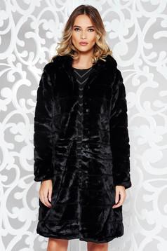 Fekete casual nagykabát műszőrme belső béléssel