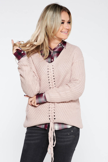 Rózsaszínű casual pulóver bő szabás v-dekoltázzsal kötött anyag