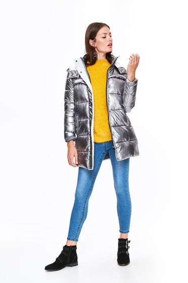 Ezüst Top Secret dzseki casual vízhatlan fémes jelleg belső béléssel