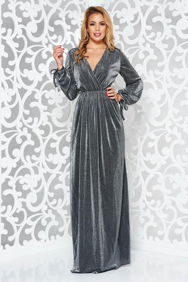 Ezüst alkalmi hosszú harang ruha derékban rugalmas