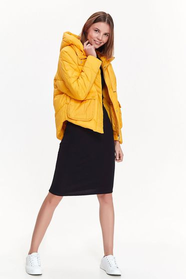 0d40359d56 Sárga Top Secret casual vízhatlan dzseki zsebes a kapucni nem távolítható el