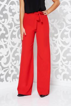 Piros StarShinerS elegáns övvel ellátva nadrág enyhén elasztikus szövet magas derekú bővülő