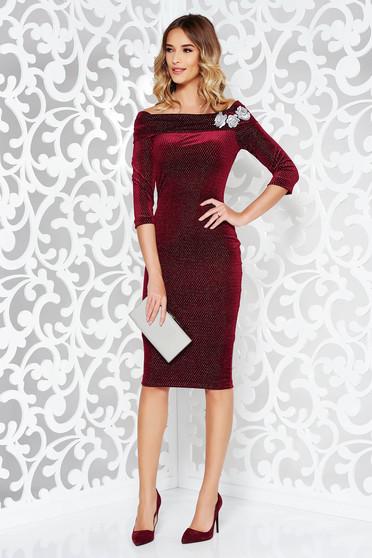 Burgundy StarShinerS ruha alkalmi ceruza hímzett bársony váll nélküli lamé szál