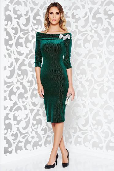 Zöld StarShinerS ruha alkalmi ceruza hímzett bársony váll nélküli lamé szál