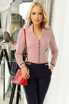 Piros Fofy női ing irodai enyhén elasztikus pamut szűk szabás v-dekoltázzsal