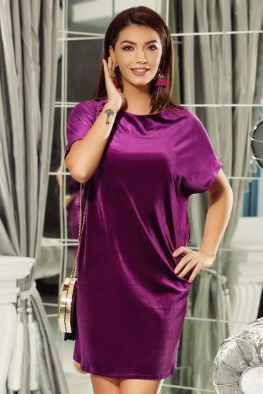 Lila Fofy ruha elegáns bő szabású bársony kivágott hátrész