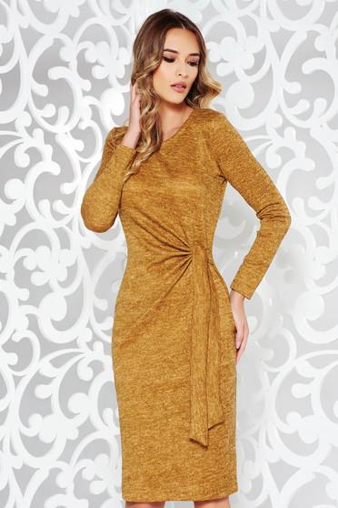 Mustar StarShinerS ruha hétköznapi kötött anyag szűk szabás hosszú ujjak