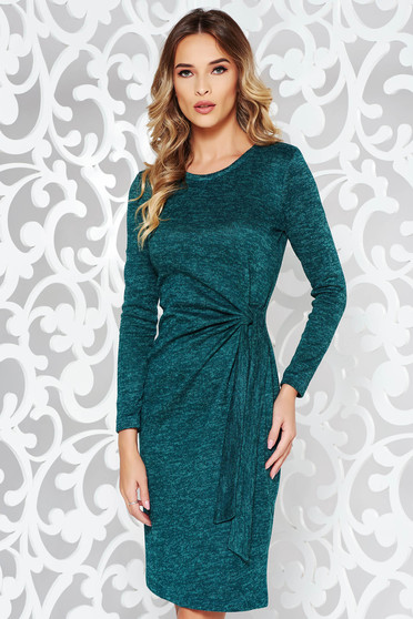Zöld StarShinerS ruha hétköznapi kötött anyag szűk szabás hosszú ujjak