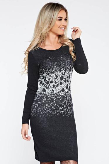 Fekete casual pamutból készült szűk szabású ruha hosszú ujjakkal