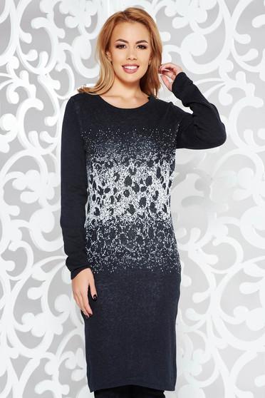 e733329028 Fekete casual pamutból készült szűk szabású ruha hosszú ujjakkal
