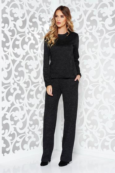 Fekete StarShinerS női kosztüm casual kötött anyag bő szabás zsebes