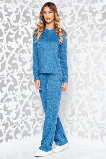 Kék StarShinerS casual női kosztüm kötött anyag bő szabás zsebekkel