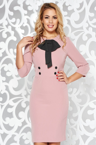 Rózsaszínű elegáns ceruza ruha enyhén elasztikus szövet masni díszítéssel
