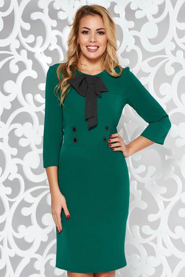 Zöld elegáns ceruza ruha enyhén elasztikus szövet masni díszítéssel