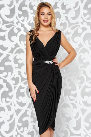 Fekete ruha alkalmi átfedéses strassz köves kiegészítő szűk szabás vékony anyag