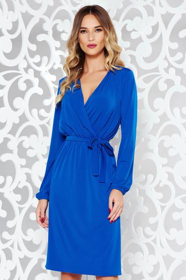 Kék StarShinerS ruha elegáns finom tapintású anyag derékban rugalmas övvel ellátva