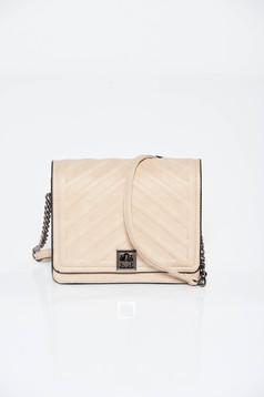 Krém táska casual műbőr hosszú lánc típusú pánt valamint rövid