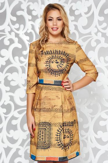 Mustar hétköznapi harang ruha háromnegyedes ujjú enyhén rugalmas anyag