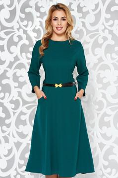 Zöld irodai harang ruha enyhén elasztikus pamut zsebes öv típusú kiegészítővel