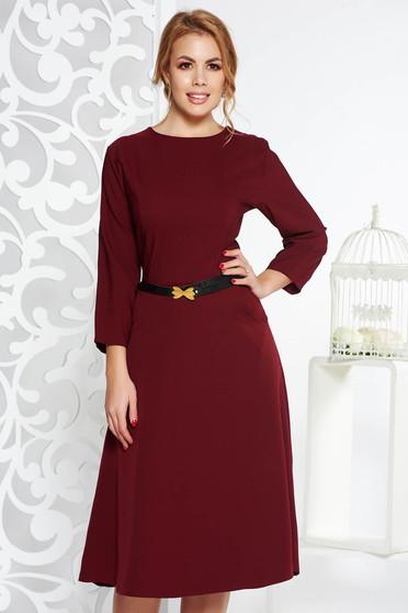 Burgundy irodai harang ruha enyhén elasztikus pamut zsebes öv típusú kiegészítővel