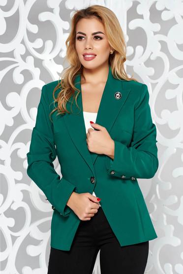 Zöld LaDonna irodai szűkített blézer enyhén elasztikus szövet belső béléssel gomb kiegészítőkkel
