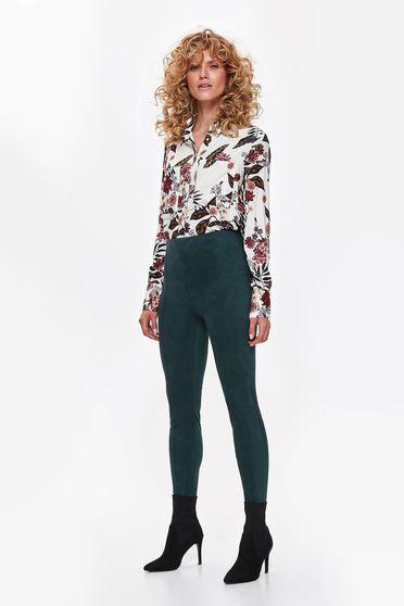 Krém Top Secret casual bő szabású női ing lenge anyagból virágmintás díszítéssel
