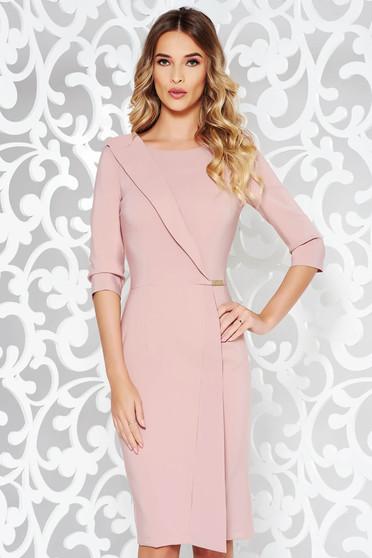 Rózsaszínű LaDonna ruha irodai ceruza enyhén elasztikus szövet belső  béléssel háromnegyedes ujjú 705fe4d6d7