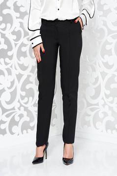 Fekete LaDonna nadrág irodai kónikus enyhén elasztikus szövet zsebes